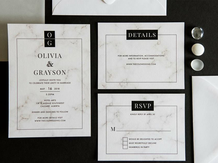 Marble inspired wedding stationery Creative Weddings blog wedding trends for 2018