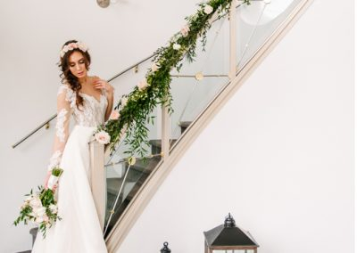 Staircase flower garland for Creative Weddings Planning and Decor blog - Calgary and Banff Wedding Planner - Wedding Trends For 2018