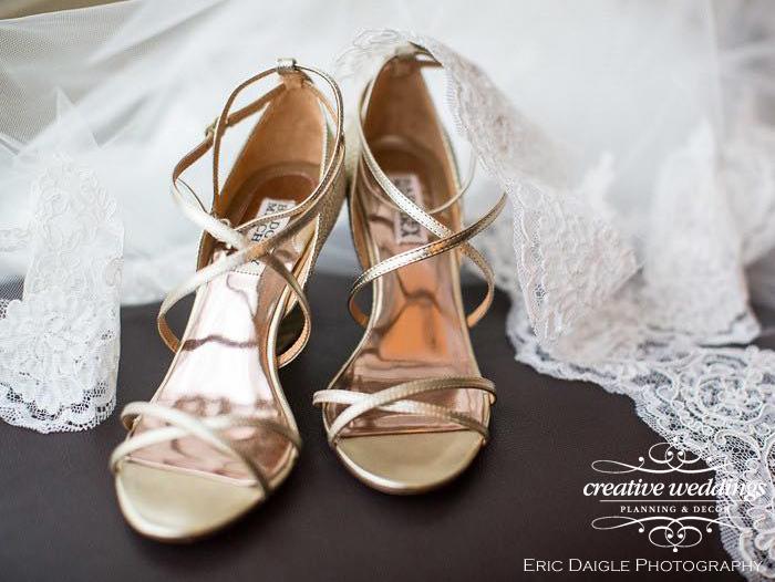 Banff Wedding Planner - Creative Weddings Planning & Decor; Gold sandals by Badgley Mischka Rimrock Resort Wedding Eric Daigle Photography