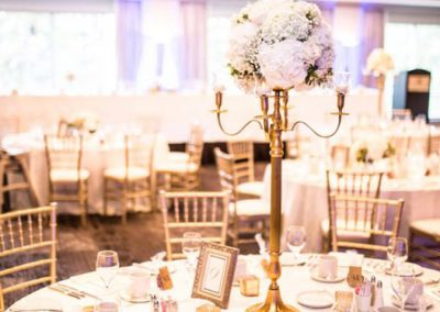 Banff Wedding Planner and Designer - Creative Weddings Planning & Decor; Rimrock Resort Wedding, Banff Real Wedding, Gold Candelabras, Elegant Reception, ivory and gold; Banff Wedding Planning; Tall Gold Candelabra Centerpieces Wedding Flowers With Love By Fiori Con Amore