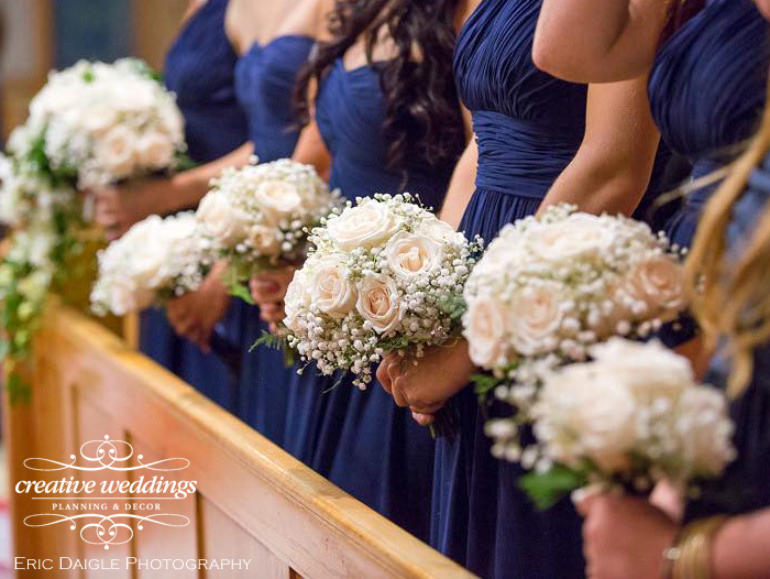 Banff Real Wedding; Banff Wedding Planning Creative Weddings Planning & Decor; Baby's breath bouquets for bridesmaids by Wedding Flowers With Love By Fiori Con Amore Eric Daigle Photography