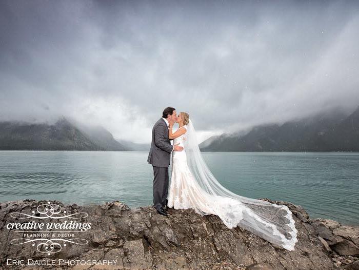 Banff Wedding Planner Creative Weddings Planning & Decor; Lake Minnewanka wedding photos; Banff Real Wedding; Rimrock Resort Wedding; Eric Daigle Photography
