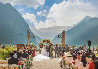 Lake Louise Wedding Florist Banff Wedding Florist Wedding Flowers With Love By Fiori Con Amore Luxury Floral Arch Marsala Blush Chateau Lake Louise Wedding