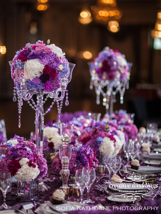Pantone Color Of The Year 2018 Ultra Violet Purple Centerpieces Creative Weddings Planning & Decor and Fiori Con Amore Sofia Katherine Photography Calgary Wedding Florist, Calgary Wedding Designer, Wedding Flowers, Banff Wedding Florist, Banff Wedding Planner