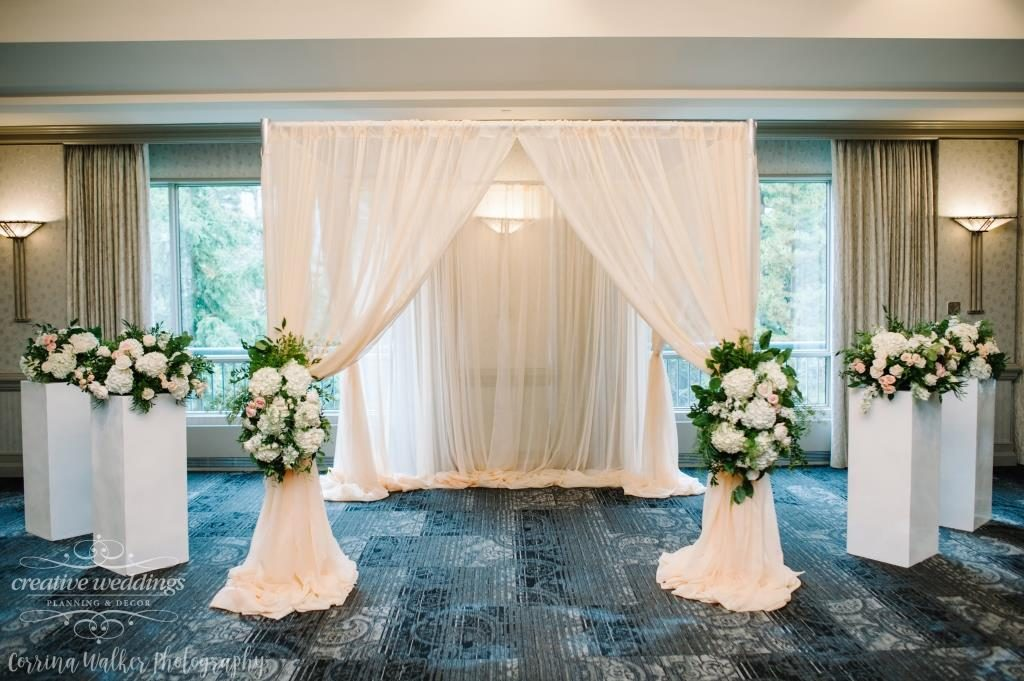 Banff Wedding Decor Banff Wedding Planner Creative Weddings Planning and Decor Blush Ceremony Backdrop Rimrock Resort Wedding Banff Wedding Decor Fiori Con Amore Wedding Florist Corrina Walker Photography