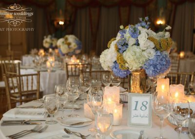 Banff Calgary Wedding Planning Decorator Florist Banff Springs Wedding Cascade Ballroom white blue gold wedding 1046