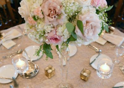 Banff Wedding Florist Planner Decorator Fairmont Banff Springs Wedding Champagne Blush Pink Tall Centerpieces Banff Bride Creative Weddings 259