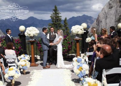 Banff bride Fairmont Banff Springs wedding outdoor terrace creative weddings planning and decor 0663