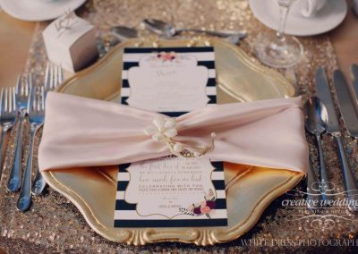 Calgary Banff Fernie Wedding Planner Fairmont Palliser Hotel Wedding gold glitz blush table setting 6