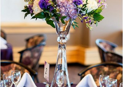 Purple Wedding Centerpieces, Country Hills Golf Club Wedding, Calgary Wedding Planner, Creative Weddings Planning and Design, Tall Centerpieces, Kristy Sneddon Photography, Creative Weddings Floral Designs, Fiori Con Amore, Calgary Wedding Florist, Calgary Event Florist, Calgary Real Wedding, Centerpiece ideas, Tall Wedding Centerpieces