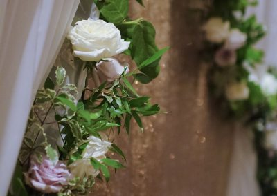 Calgary Wedding Planner Florist Deerfoot Inn Wedding Creative Weddings Planning and Decor Floral Garland Backdrop 59