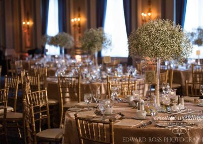 Calgary Wedding Planner Florist Fairmont Palliser Wedding Edward Ross Gold Reception Calgary Bride 2449