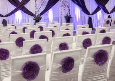 Calgary wedding planner decorator Calgary Bride Four Points Sheraton Wedding white and purple 9204