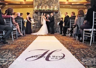Canmore Wedding Planner Silvertip Wedding Creative Weddings Planning and Decor Ceremony Fireplace Decor Winter Wedding Peak Photography 256
