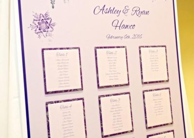 Canmore Wedding Planner Silvertip Wedding Creative Weddings Planning and Decor Seating Chart Winter Wedding Snowflake Seating Chart 544