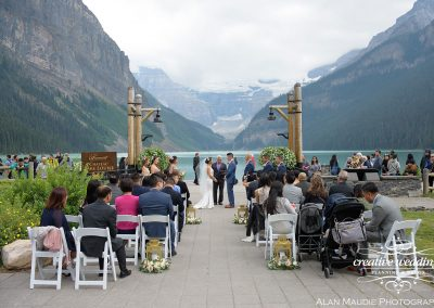 Lake Louise Wedding Ceremony Creative Weddings Planning and Decor Lake Louise Banff Wedding Planner Chateau Lake Louise Wedding 0471