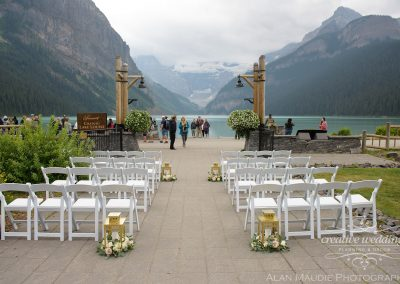 Lake Louise Wedding Planner Creative Weddings Planning and Decor Fairmont Chateau Lake Louise Wedding Outdoor Ceremony Lakefront Lanterns Alan Maudie Photography 0368