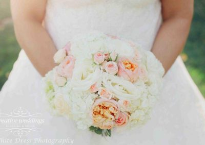 Calgary Wedding Florist Blush Romantic Bouquet Creative Weddings Fairmont Palliser Wedding White Dress Photography Calgary Bride blfor218