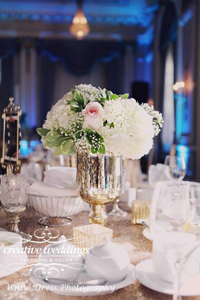 Fairmont Palliser Wedding, Calgary Wedding Planner, Creative Weddings Planning and Design, Blush and Champagne Gold Wedding, Calgary Wedding Ballroom, champagne gold sequins, Champagne gold, blush hydrangea centerpiece in gold mercury glass pedestal vase, Fiori Con Amore, Calgary Wedding Florist, Calgary Event Florist,, Crystal Ballroom at Fairmont Palliser Hotel, Classic Wedding, timeless wedding, elegant wedding, luxury wedding, Calgary real wedding, White Dress Photography