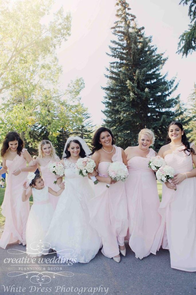 Calgary Wedding Planner, Fairmont Palliser Wedding, Blush Bridesmaids Dress, Creative Weddings Planning & Design, White Dress Photography, Calgary Wedding Planning, Calgary Real Wedding, blush and champagne gold wedding palette, Calgary Summer Wedding