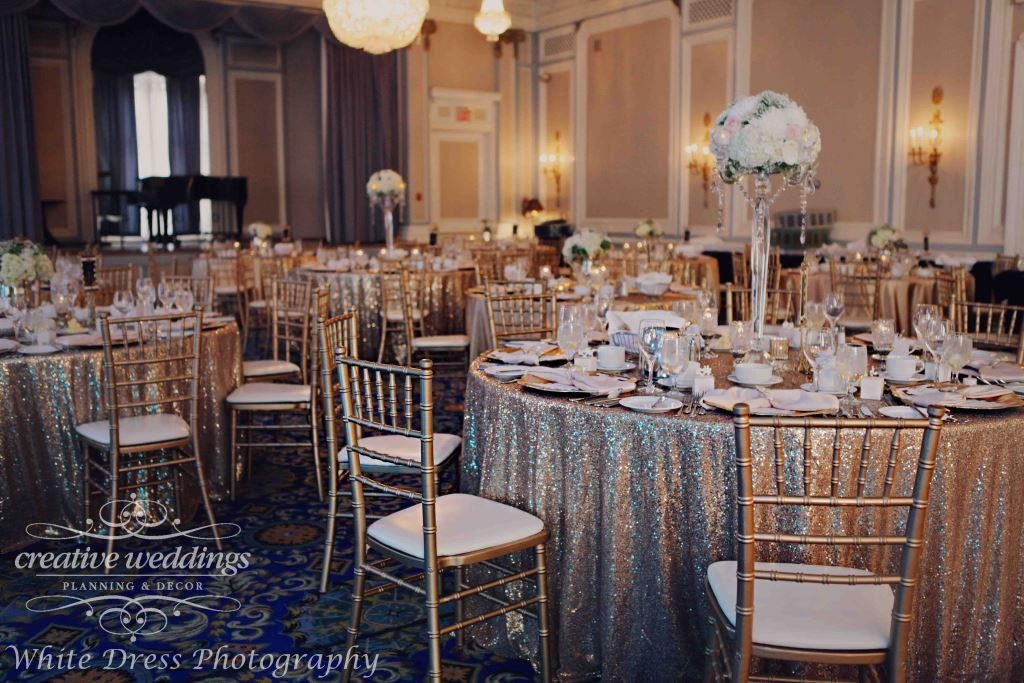 Fairmont Palliser Wedding, Calgary Wedding Planner, Creative Weddings Planning and Design, Blush and Champagne Gold Wedding, Calgary Wedding Ballroom, champagne gold sequins, Champagne gold sparkle, Crystal Ballroom at Fairmont Palliser Hotel, Classic Wedding, timeless wedding, elegant wedding, luxury wedding, Calgary real wedding, White Dress Photography