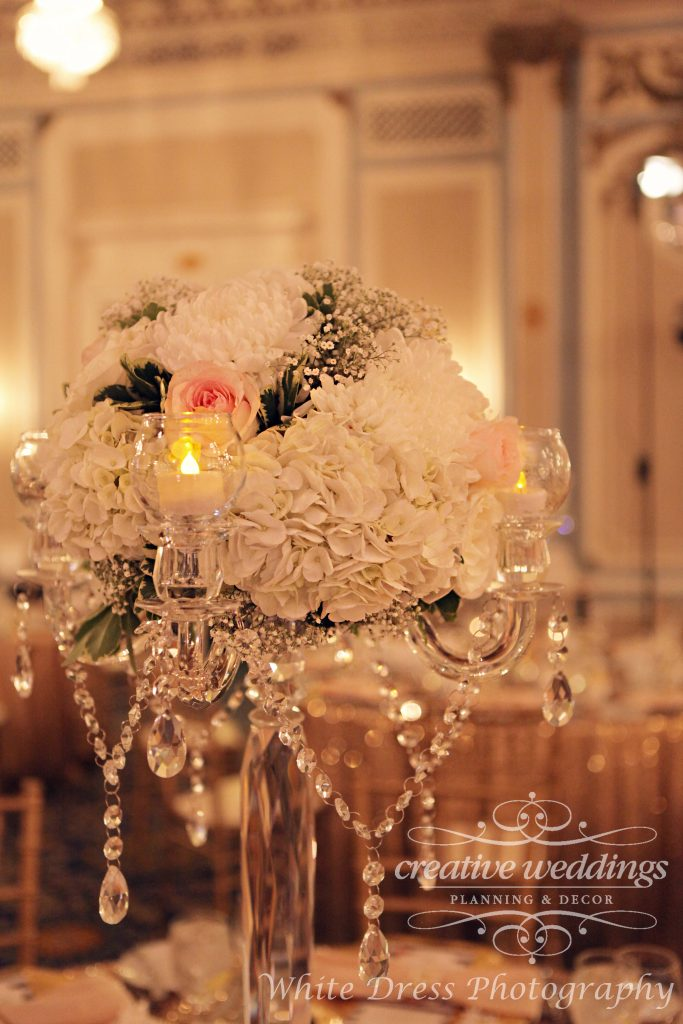 Calgary Wedding Planner, Creative Weddings Planning & Design, Fairmont Palliser Wedding, Calgary Real Wedding, YYC Wedding, Calgary Summer Wedding, Blush pink and champagne gold, luxury wedding, elegant wedding, tall centerpiece, crystal candelabra, Fiori Con Amore, Calgary Wedding Florist, Calgary Event Florist, White Dress Wedding