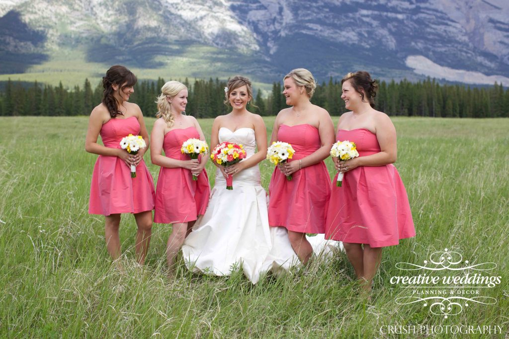 Canmore Wedding Planner, Silvertip Wedding, Creative Weddings Planning and Design, Pantone Color of the Year 2019, Living Coral, Bridesmaids Gowns, Wedding Design, Wedding Inspiration, Wedding Colors
