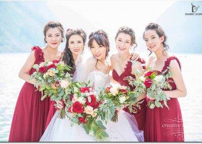 Lake Louise Wedding Planner Creative Weddings Planning and Design Marsala Bridal Bouquets Marsala Bridesmaids Chateau Lake Louise Wedding Banff Real Wedding S_048