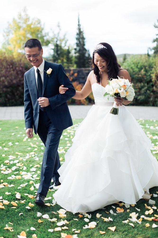 Azuridge Wedding, Creative Weddings Planning & Design, Calgary Wedding Planner, Event Wedding, Fall Wedding, Wedding Planner in Calgary, walking down the aisle