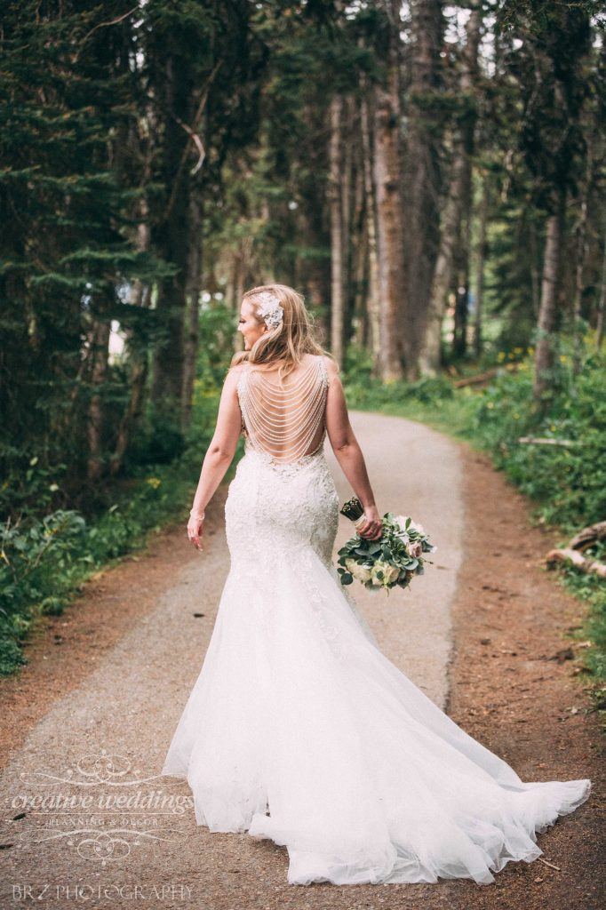 Beaded Detailed Back, Allure Couture wedding gown, Lake Louise Wedding, Rocky Mountain Bride, Beautiful Bride