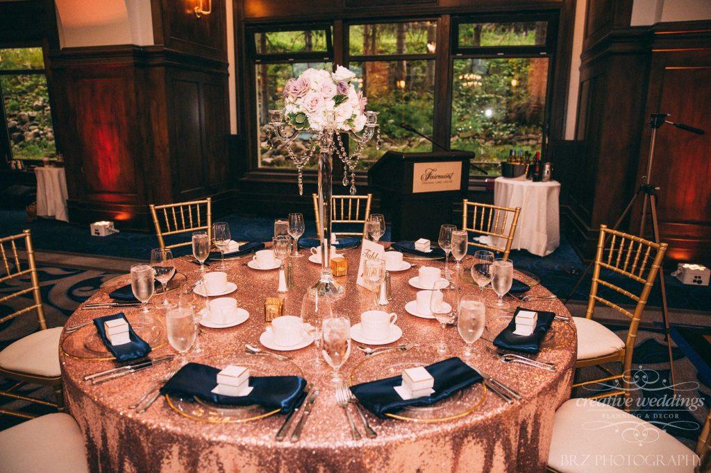 Reception Table, Rosegold glitz, Wedding Decor, Lake Louise Wedding, Creative Weddings Planning & Design