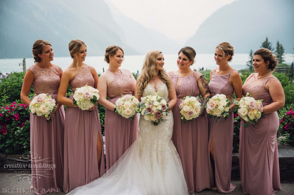 Bride and Bridesmaids, bridal bouquets, real wedding, Fairmont Chateau Lake Louise Wedding, Creative Weddings Floral Designs, wedding flowers
