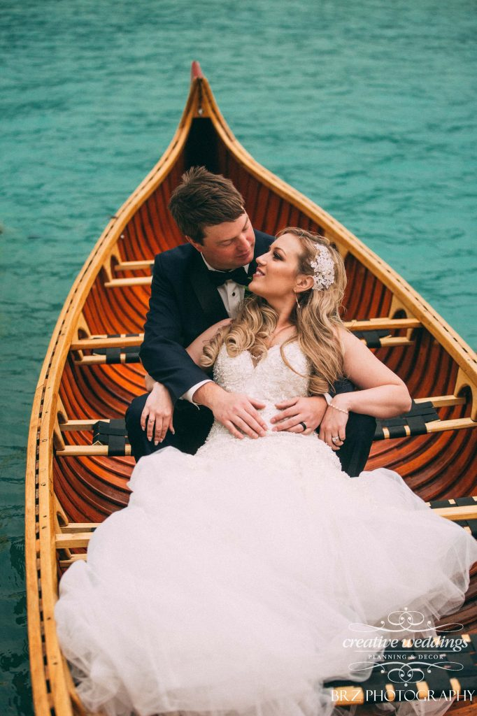 Canoe Wedding Photo, Real Wedding, Lake Louise Wedding, Creative Weddings Planning & Design