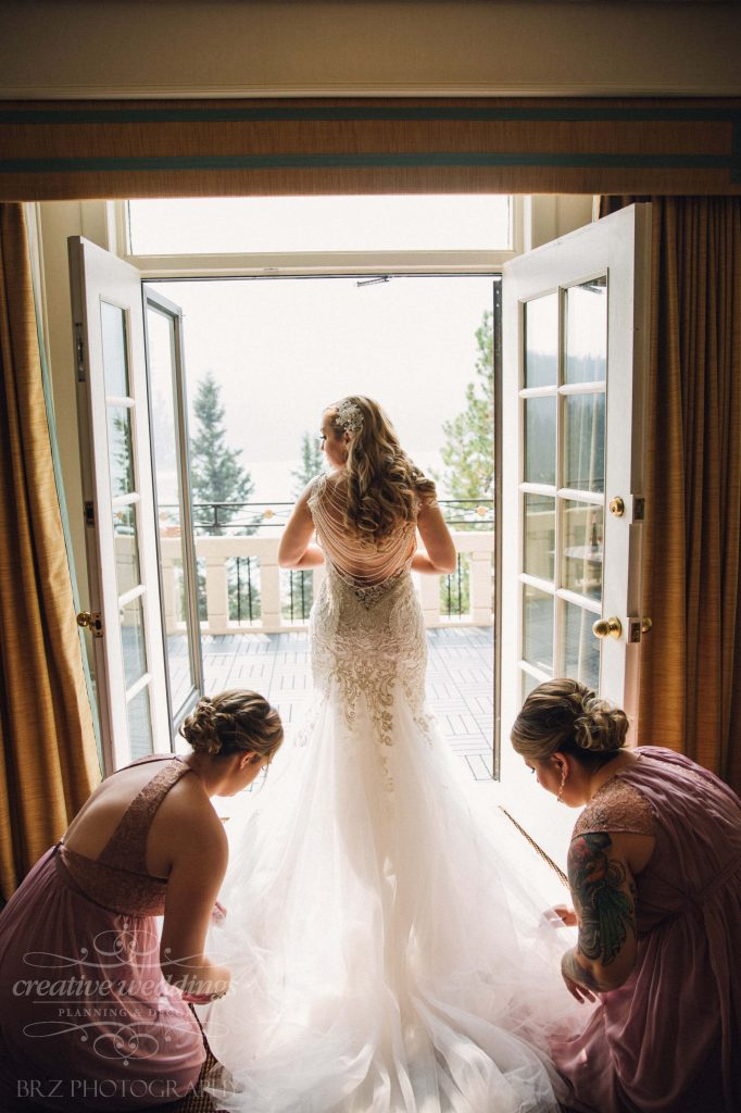 Beautiful Bride in Allure Couture, Beaded Detailed Back, Fairmont Chateau Lake Louise Wedding