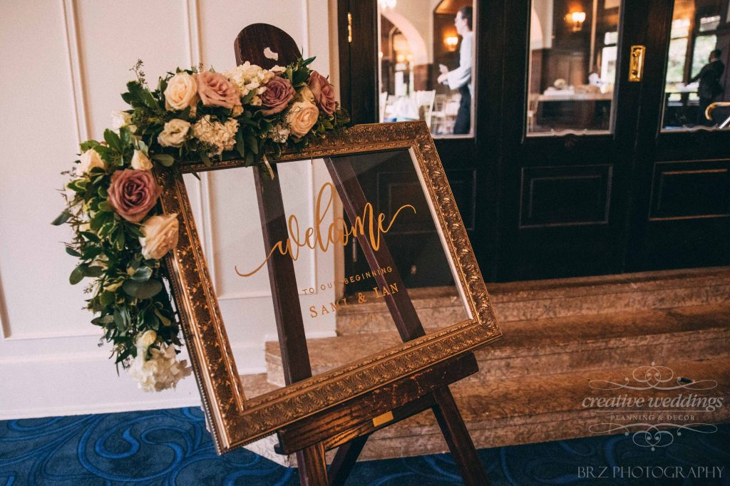 Wedding Reception Welcome Sign With Flowers, Floral Welcome Sign, Wedding Decor, Lake Louise Wedding, Creative Weddings Planning & Design
