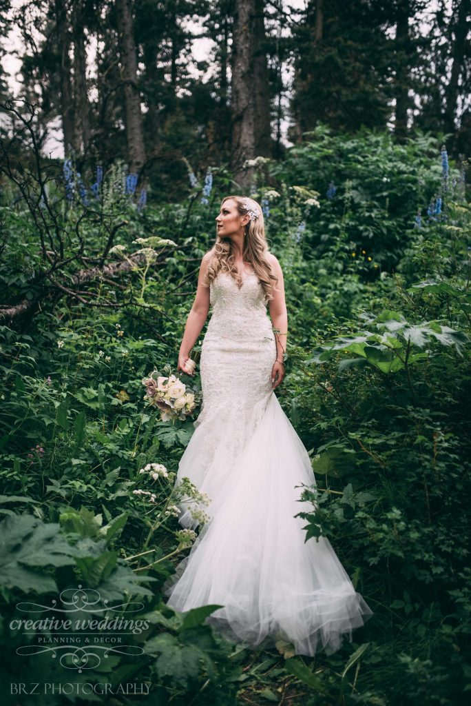 beautiful bride, allure couture, Lake Louise Wedding,