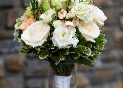 White and peach rose bouquet, Banff wedding florist, Creative Weddings Floral Designs